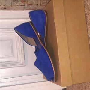 "Franco Sarto ""Blue Suede"" peep toe flats"